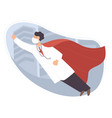 heroic and brave doctor superman medical worker vector image