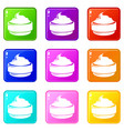 ice cream icons set 9 color collection vector image vector image
