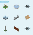isometric city set of dc memorial seesaw vector image vector image