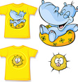 kid shirt with funny hippo love printed - isolated vector image