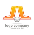 letter l company foot ball circle symbol icon vector image