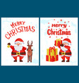 merry christmas lettering santa claus deer helper vector image vector image