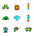 mine equipment icons set cartoon style vector image vector image