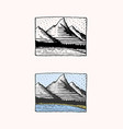 mountain peaks emblem engraved vintage hand vector image
