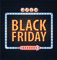 neon sign black friday open on brick wall vector image vector image