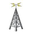 old radio tower color sketch engraving vector image vector image