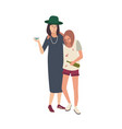 pair of drunk girls dressed in messy clothes vector image