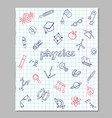physics sketch icons set vector image
