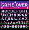 pixel retro font computer game design 8-16 bit vector image