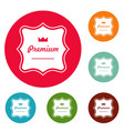 premium label icons circle set vector image vector image