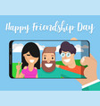selfie photo of friends against a background vector image