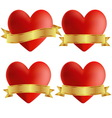 Set of heart icons with badges vector image