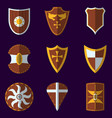 set of medieval shield icon and label flat style vector image