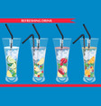 set of refreshing drinks vector image vector image