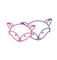 silhouette cute fox head animal couple together vector image vector image