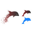 sparkle pixelated halftone dolphin icon vector image vector image