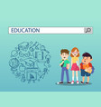 three students with education search engine bar vector image vector image