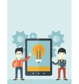 Two businessmen holding big screen tablet vector image