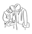 two engineer worker with hard hat looking a paper vector image vector image