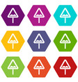 uneven triangular road sign icon set color vector image vector image