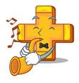 with trumpet retro plus sign addition symbol vector image