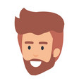 young man head with beard avatar character vector image vector image