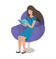 young woman reading book in the sofa vector image vector image