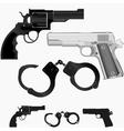 Gun revolver and handcuffs vector image