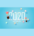 2020 happy new year label designholiday on pastel vector image vector image