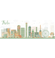 Abstract Kobe Skyline with Color Buildings vector image vector image