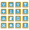 awards medals cups icons set sapphirine square vector image vector image