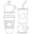 black and white drink icon set poster vector image