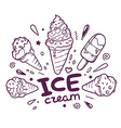 black and white ice creams with inscripti vector image vector image