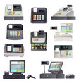 cash register checkout counter with scanner vector image