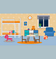 childrens bedroom interior with furniture and toys vector image