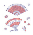 chinese traditional fan line art set vector image vector image