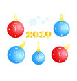 christmas balls with clock new year set vector image