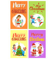 christmas holidays preparation kids cards set vector image vector image