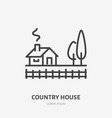 country house flat line icon thin sign of vector image vector image