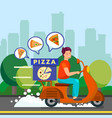 courier delivering dinner to suburbs vector image