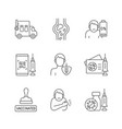 covid19 passport linear icons set vector image vector image