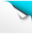 curled metalic silver corner of white paper vector image vector image