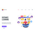 distance learning technology landing page student vector image vector image