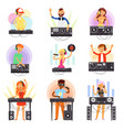 dj music discjockey people character vector image