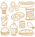 doodle of food set various vector image vector image