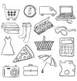 doodle shopping pictures vector image vector image