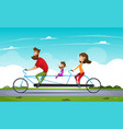 family riding a bicycle in the park tandem bike vector image