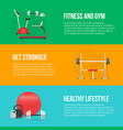 fitness training and gym club concept set vector image vector image