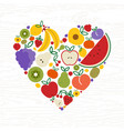 fruit icon heart shape for organic food concept vector image vector image