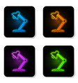 glowing neon table lamp icon isolated on white vector image vector image